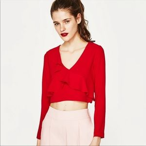 ZARA Red Cropped Long Sleeve Top with Ruffles NWOT